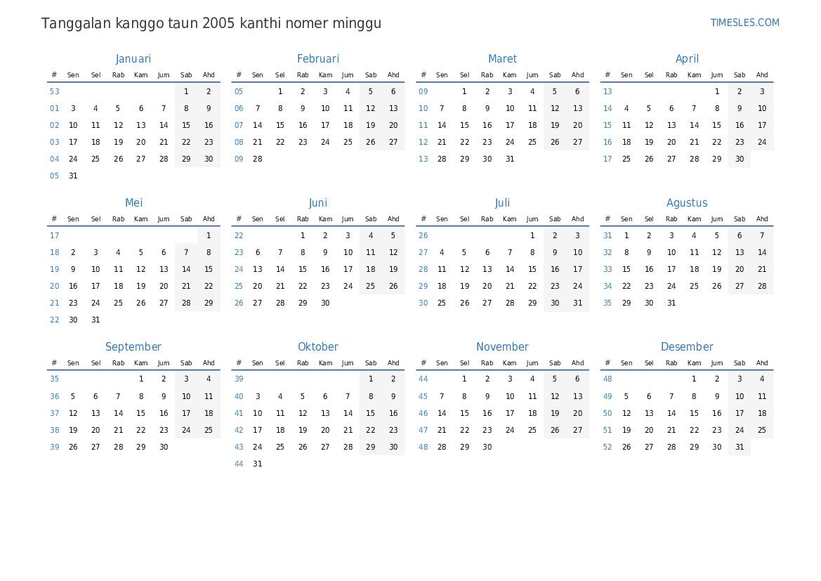 2005 kalender kalender tahun